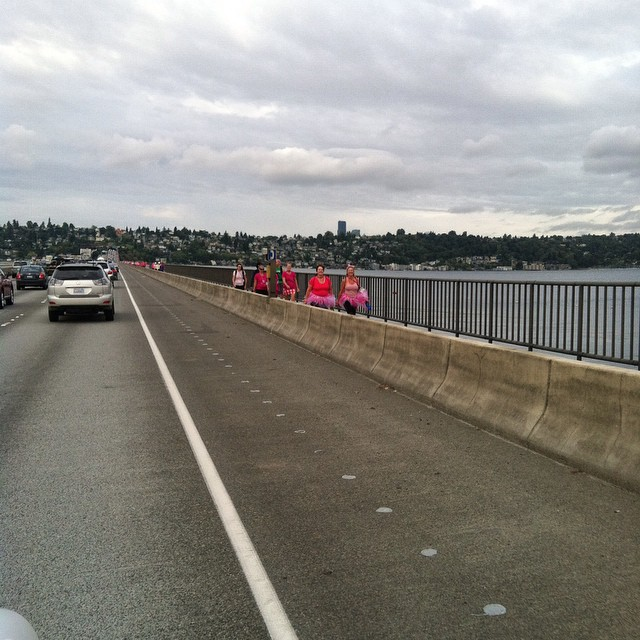 A sea of pink as we cross the I-90 bridge. A huge shout out to all of those tutu clad, brightly decorated women (and men) strutting their stuff to help cure a disease that has touched every single one of us in some way!  #breastcancer #walkingforacure #susangkomen #pink