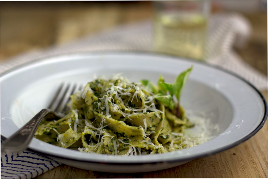 Kale Pesto with Fettuccine
