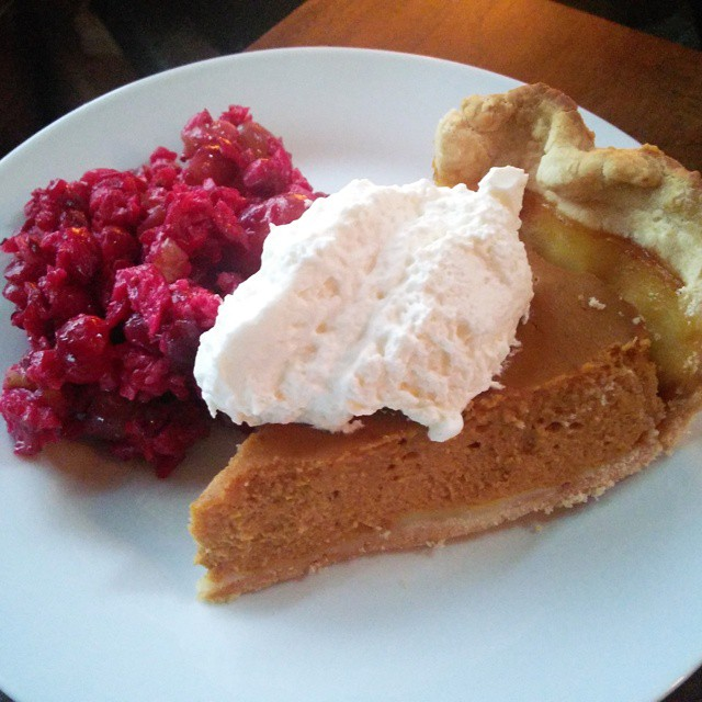 Pumpkin pie and cranberry salad for breakfast.  What little luxuries do you allow yourself during the holidays?  #pumpkin #cranberry #food #welfare #littleluxuries