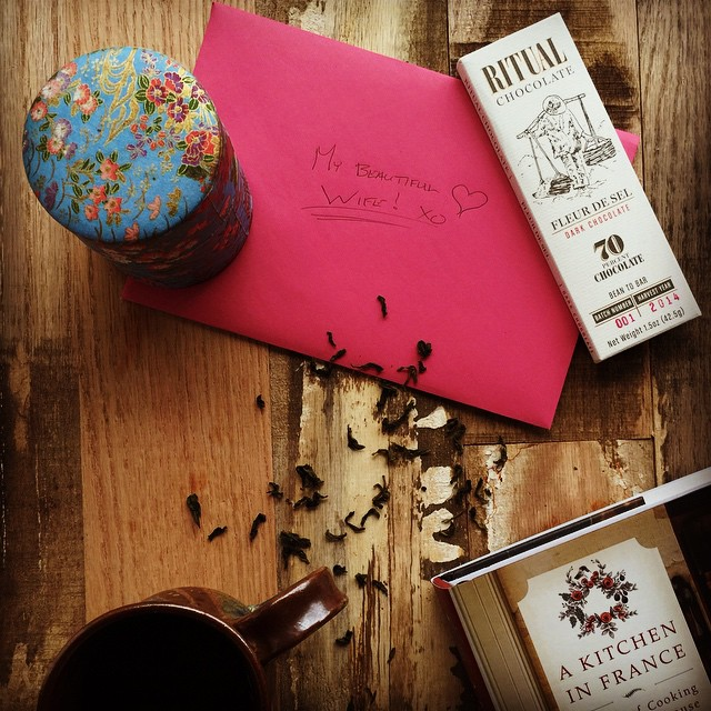 Three of my favorite things. Coconut pouchong, chocolate and a cookbook. Thank you love of my life!  #valentinesday #chocolate #tea #cookbooks